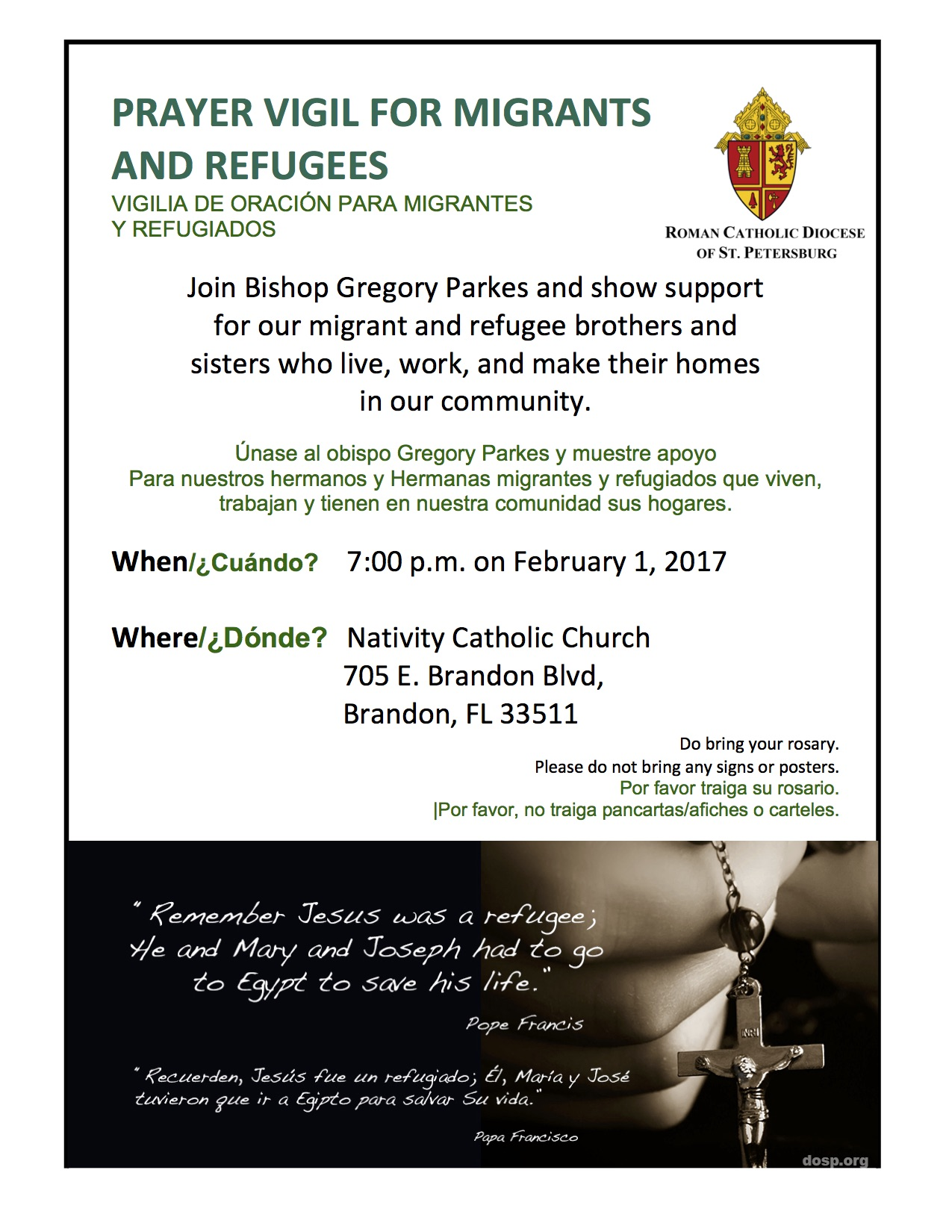 2017 Prayer Vigil for Migrants and Refugees Flyer